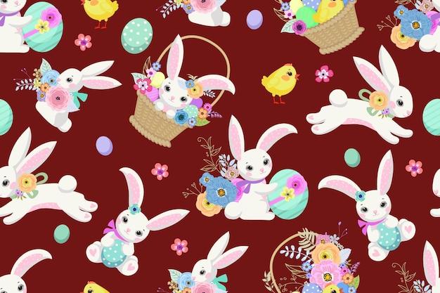 Sfondo di pasqua primaverile con simpatici coniglietti, uova e fiori per carta da parati e design del tessuto. illustrazione vettoriale