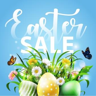 Sfondo di pasqua con uova e fiori Vettore Premium