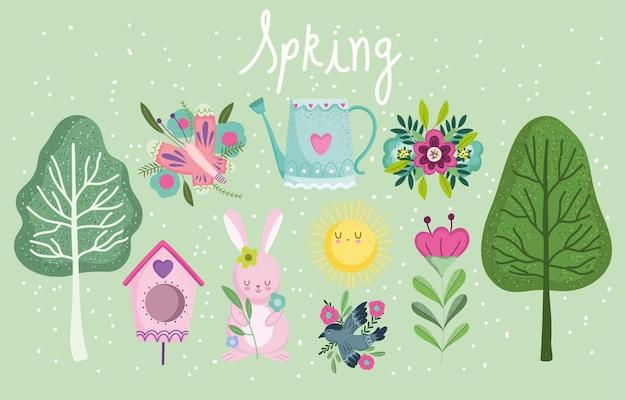 Elementi di primavera impostare illustrazione