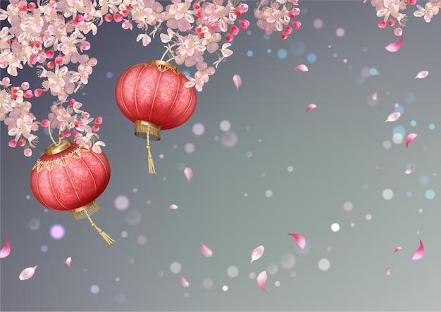 Festa di primavera con fiori di ciliegio, petali volanti e lanterne orientali