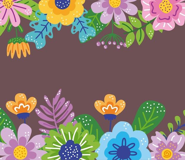 Icona del giardino cornice floreale di primavera