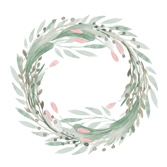 Cornice floreale di primavera verde clipart dipinte a mano, fiori, tulipani, ghirlanda