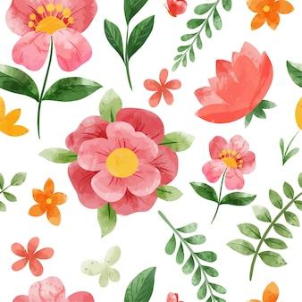 Modello senza cuciture floreale di primavera. illustrazione dell'acquerello disegnato a mano.