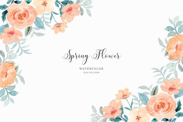 Sfondo cornice fiore primaverile con acquerello