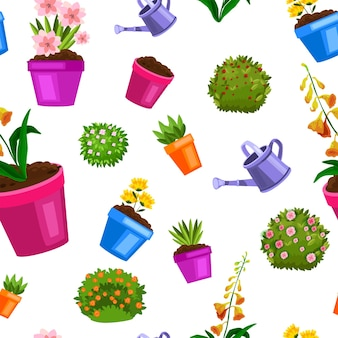Modello senza cuciture del vaso di fiori di primavera con piante domestiche verdi, cespugli fioriti, piantina, foglie.