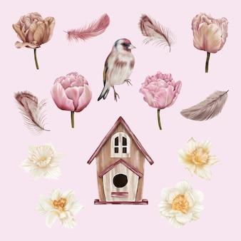Fiori primaverili e uccelli con scatola di storno e piume