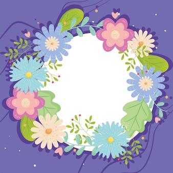 Progettazione del cerchio dei fiori della primavera, pianta floreale naturale e illustrazione di tema dell'ornamento