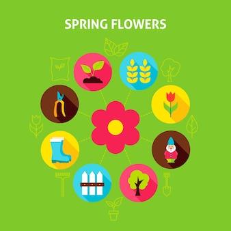 Concetto di fiori di primavera. illustrazione vettoriale del cerchio di infografica giardino natura con icone piane.