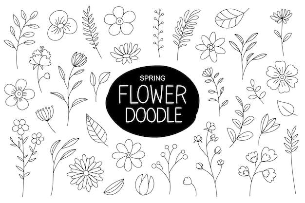 Fiori di primavera doodle isolato su bianco