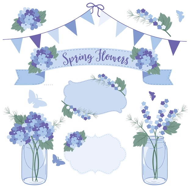 Fiori di primavera in vasi di muratore, guarisci presto