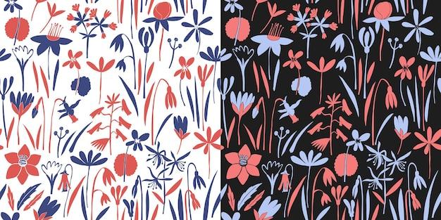 Modello senza cuciture di fiori di primavera. illustrazioni disegnate a mano. sfondo botanico.