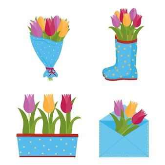Tulipani di fiori di primavera in diversi contenitori.