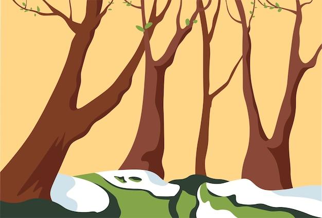 Foresta primaverile con neve che si scioglie e albero in fiore