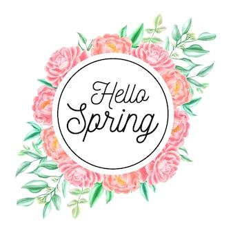 Cornice primavera di peonia rosa