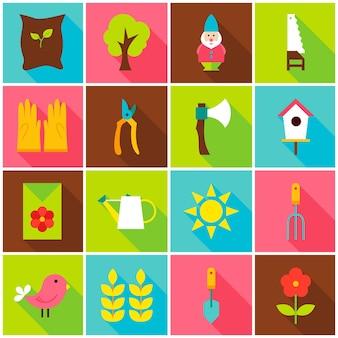 Icone variopinte del giardino di primavera. illustrazione di vettore. insieme della natura di elementi rettangolari piatti con ombra lunga.