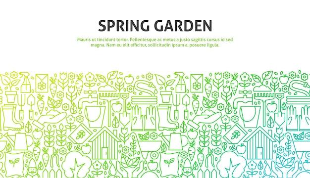 Concetto di giardino di primavera. illustrazione vettoriale di cerchio infografica natura con icone.