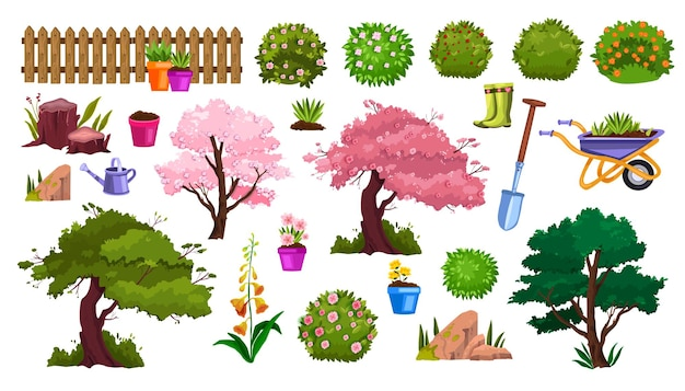 Elementi del fumetto della natura del giardino di primavera con vaso di fiori, alberi in fiore, recinzione, fiori, cespugli. Vettore Premium