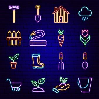 Icone al neon del giardino di primavera. illustrazione vettoriale di promozione della natura.
