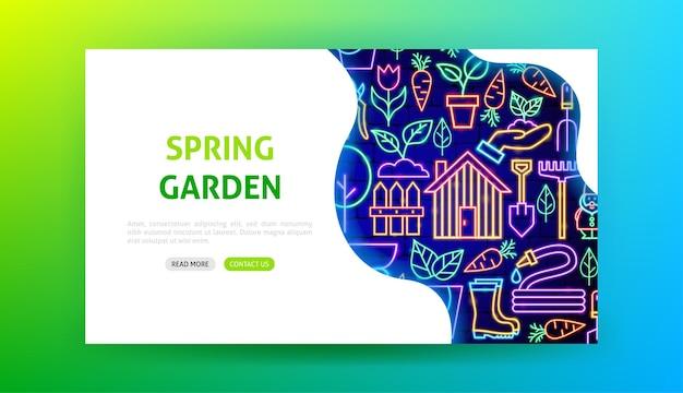 Pagina di destinazione al neon del giardino di primavera. illustrazione vettoriale di promozione della natura.