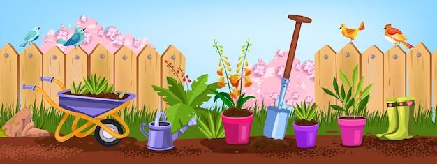 Giardino primaverile, illustrazione della natura del cortile estivo con vasi di fiori, pala, recinzione, uccelli, cespugli.