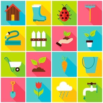 Icone variopinte di giardinaggio di primavera. illustrazione di vettore. insieme della natura di elementi rettangolari piatti con ombra lunga.