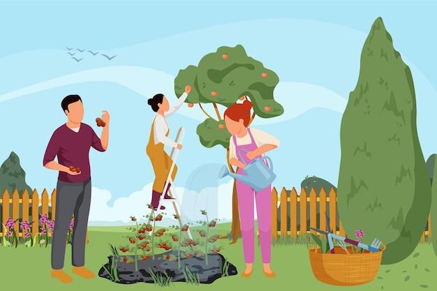 Composizione piatta per giardinaggio primaverile con paesaggio all'aperto e giardino con diversi fiori, piante, frutti e persone