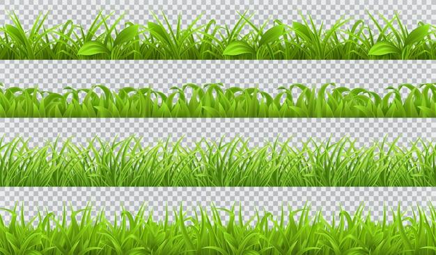 Erba verde primavera, seamlessattern. set realistico 3d