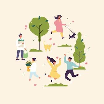 Illustrazione di primavera con persone che si godono e si rilassano all'aperto nel parco