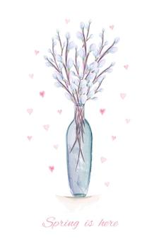 La primavera è qui illustrazione dell'acquerello disegnato a mano. biglietto di auguri con rami di salice figa acquerello nel vaso.