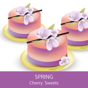 Vettore di dessert di gelatina di primavera