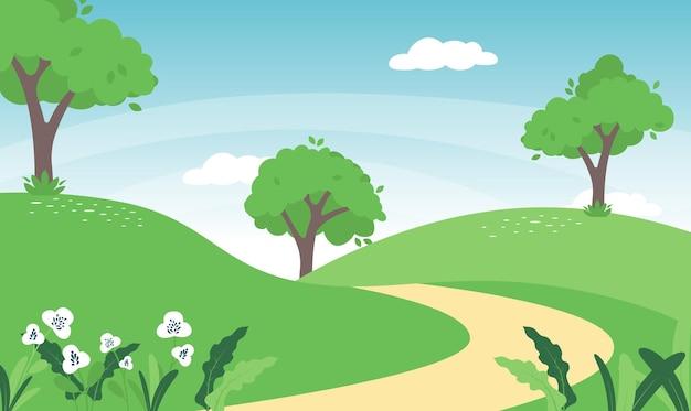 Paesaggio primaverile in campagna con prato verde sulle colline e cielo blu, cartone animato paesaggio estivo o primaverile, campo panoramico in erba e fiori selvatici, sfondo naturale per le vacanze Vettore Premium