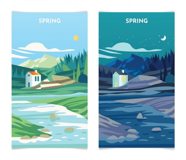Paesaggio primaverile di giorno e di notte. le insegne di stagione primaverile hanno messo l'illustrazione del modello