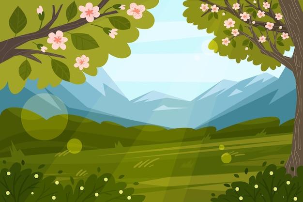 Scena del paesaggio primaverile