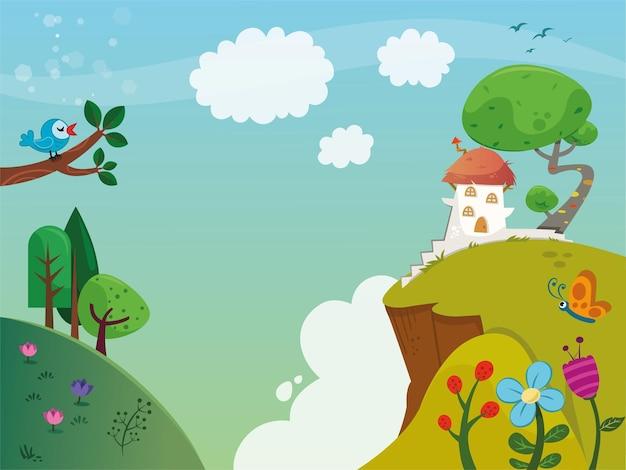Stile del fumetto dell'illustrazione di vettore del paesaggio della primavera