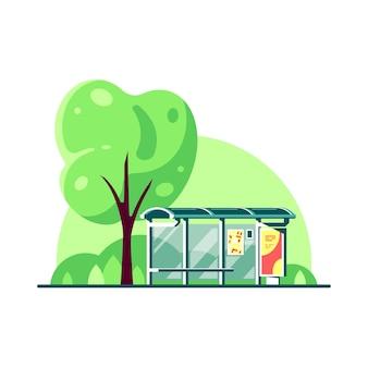 Paesaggio primaverile con fermata dell'autobus e albero isolato su sfondo bianco. .