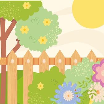 Paesaggio della primavera con l'albero del recinto dei fiori e il disegno del sole, illustrazione di tema del giardino e della decorazione dell'ornamento floreale naturale di stagione