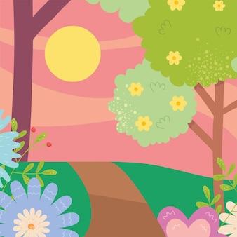 Paesaggio primaverile con fiori alberi sole e design stradale, stagione ornamento floreale naturale giardino e illustrazione tema decorazione