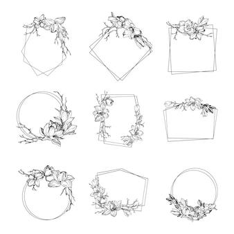 La cornice moderna primaverile con fiori, foglie e rami di magnolia è in stile incisione
