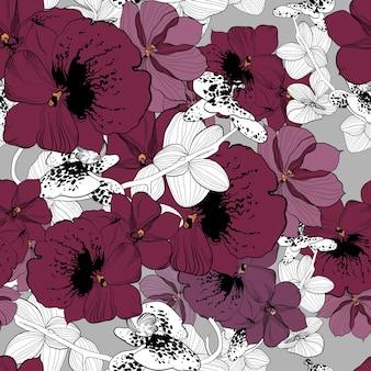 Modello senza cuciture disegnato a mano naturale di primavera con fiori di orchidea colorati e monocromatici