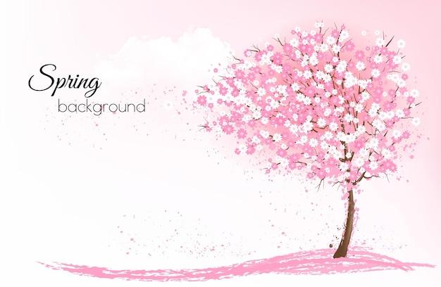 Sfondo di natura primavera con un albero di sakura in fiore rosa.