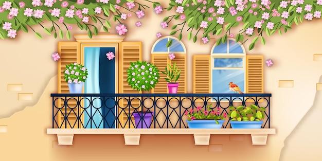 Illustrazione della facciata della finestra del balcone della città vecchia della primavera