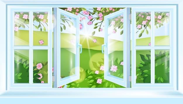 Vista del telaio della finestra della casa aperta della primavera, paesaggio fiorito, colline, fiori, rami di sakura.