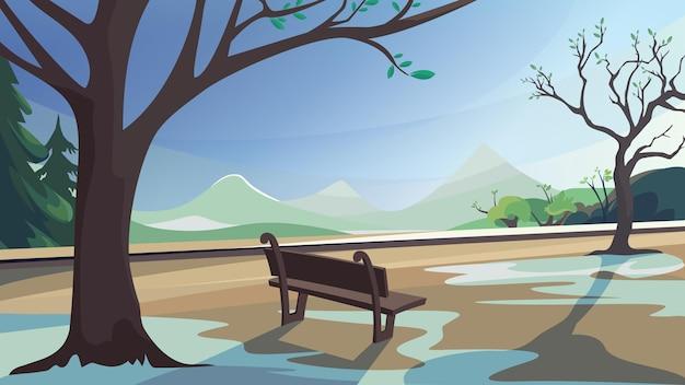 Parco primaverile, foresta e montagne. splendido scenario naturale.