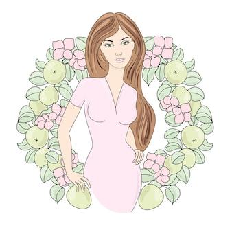 Ritratto di primavera illustrazione a colori per compleanno e festa, decorazioni murali