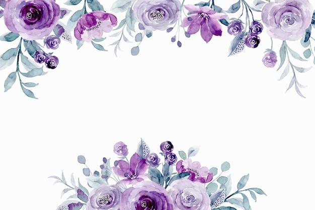 Sfondo floreale viola di primavera con acquerello