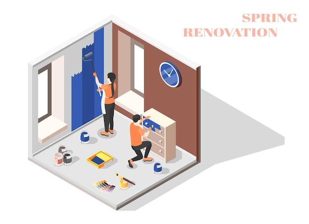 Composizione isometrica di ristrutturazione primaverile con giovani coppie che lavorano insieme nell'interiore domestico