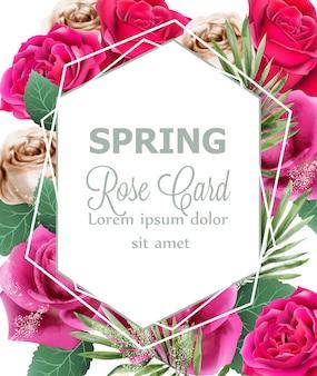 Acquerello di rose di primavera