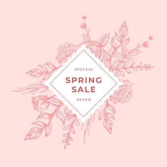 Banner botanico astratto di vendita di primavera o etichetta con cornice floreale a rombo.