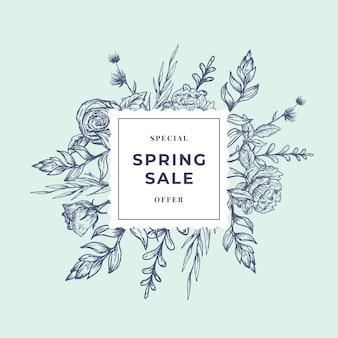 Banner botanico astratto di vendita di primavera o etichetta con cornice floreale quadrata.