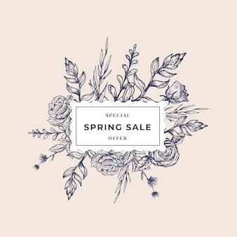 Etichetta botanica astratta di vendita di primavera con bandiera floreale cornice quadrata.